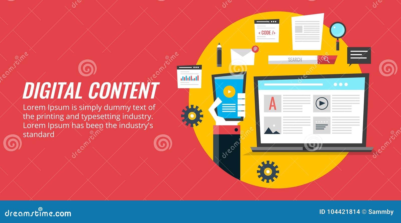Media che commercializzano, promozione del contenuto digitale, strategia di Digital del contenuto di web Insegna piana di vettore