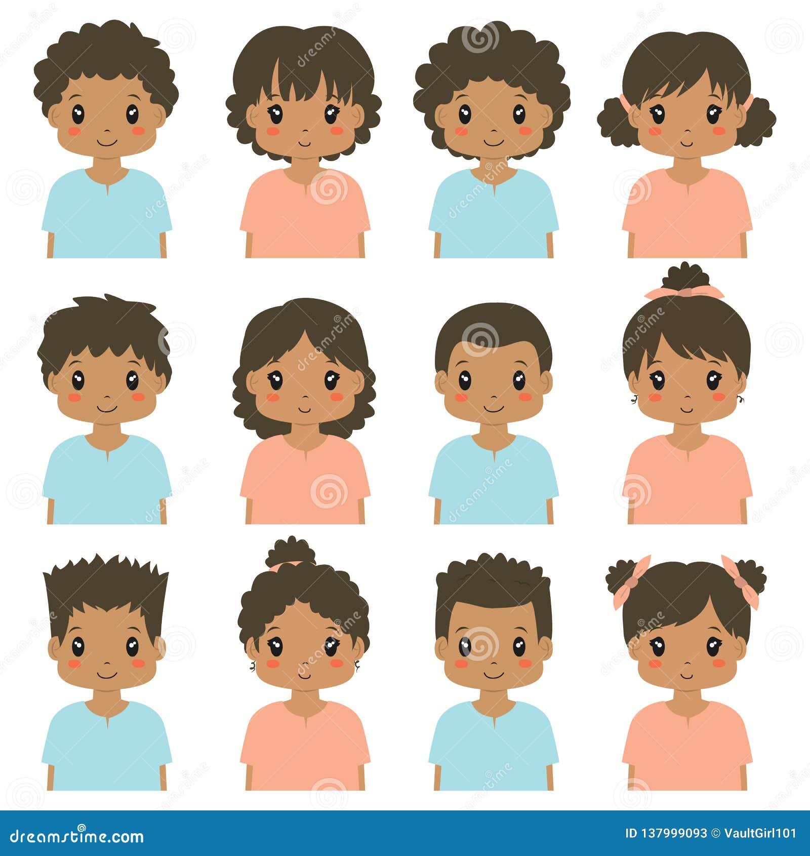 Media colección del vector de Avatar del cuerpo de los niños afroamericanos lindos