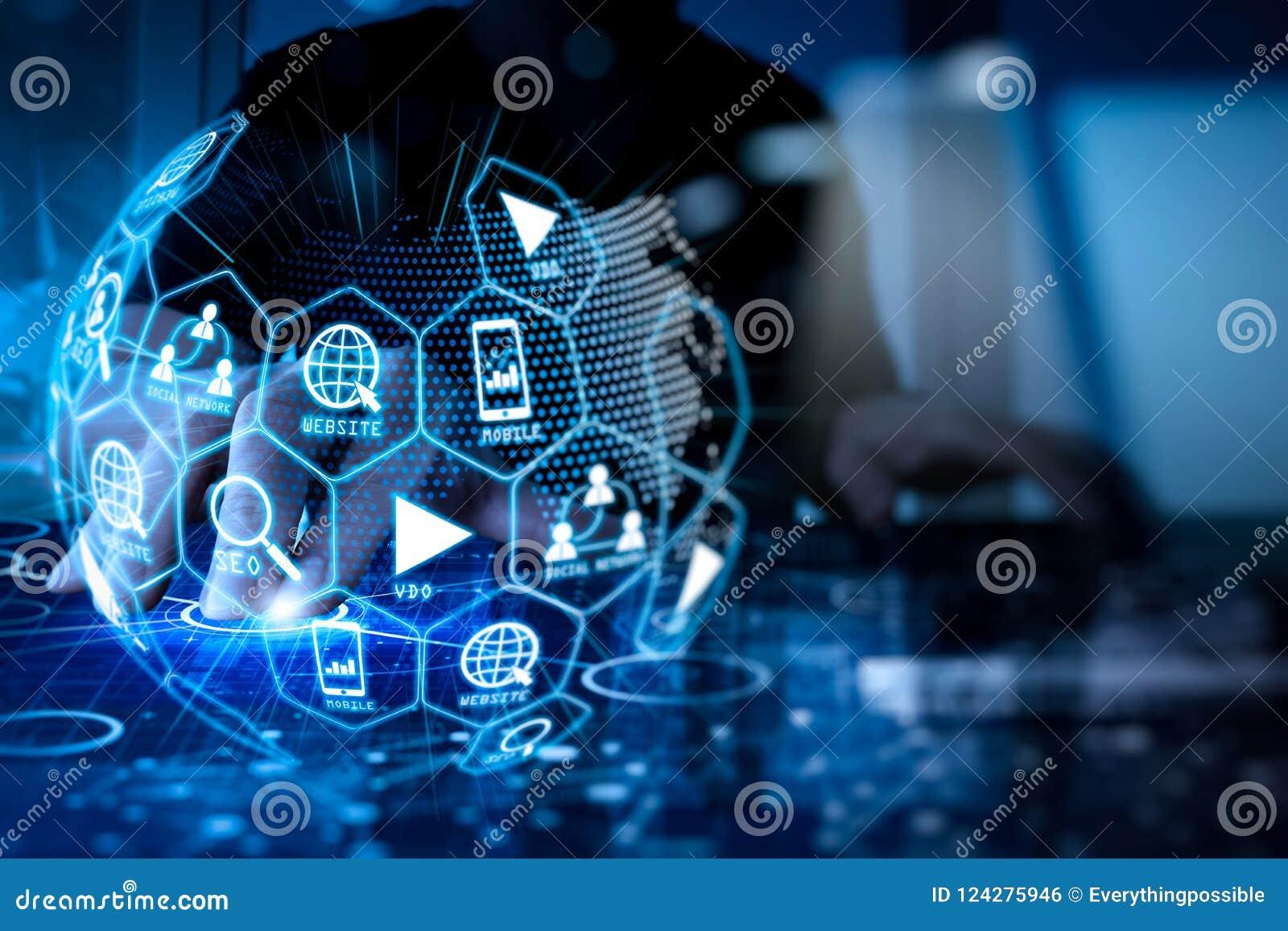Media de vente de Digital (annonce de site Web, email, réseau social, SEO,