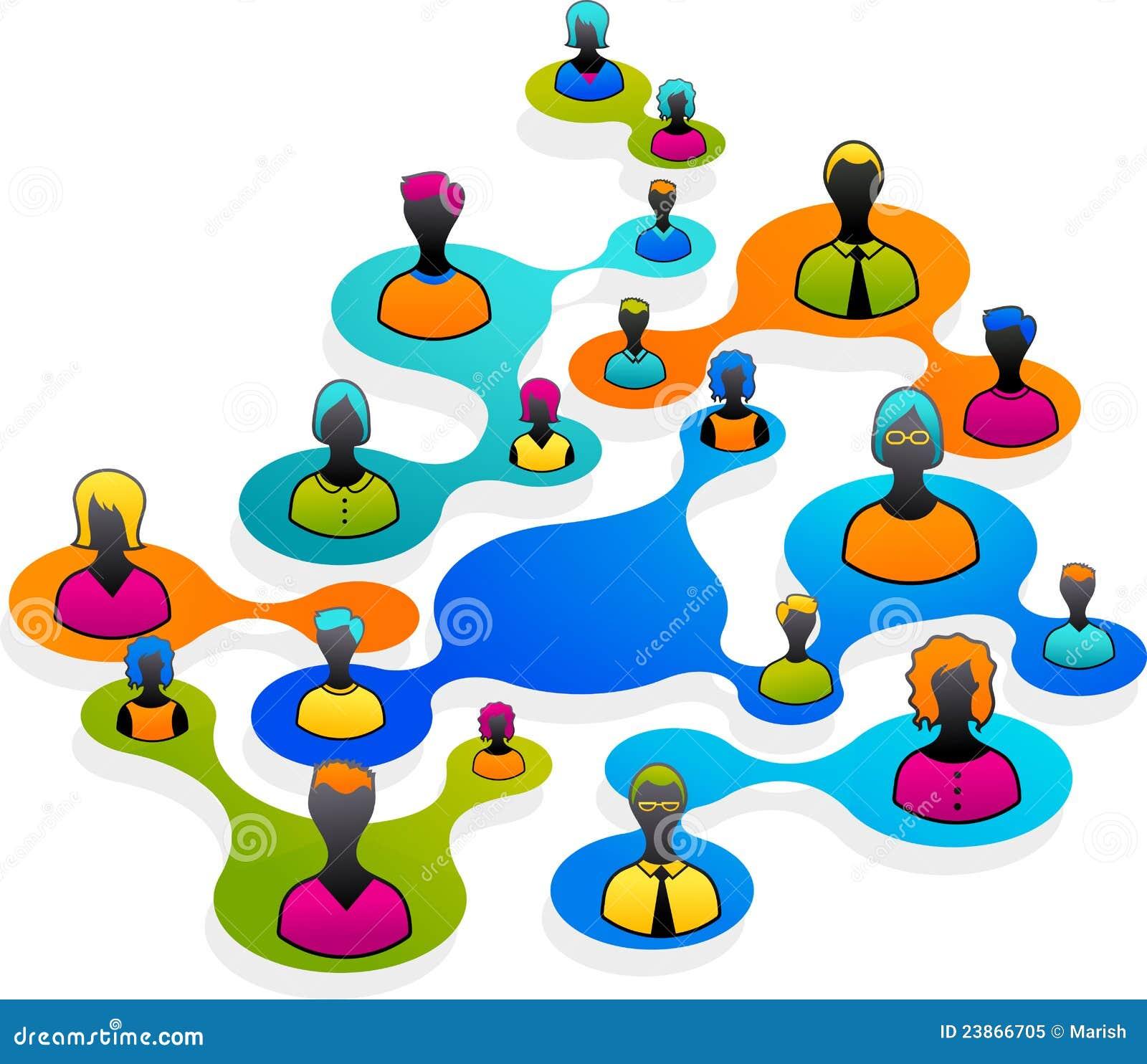 Media e ilustración sociales de la red