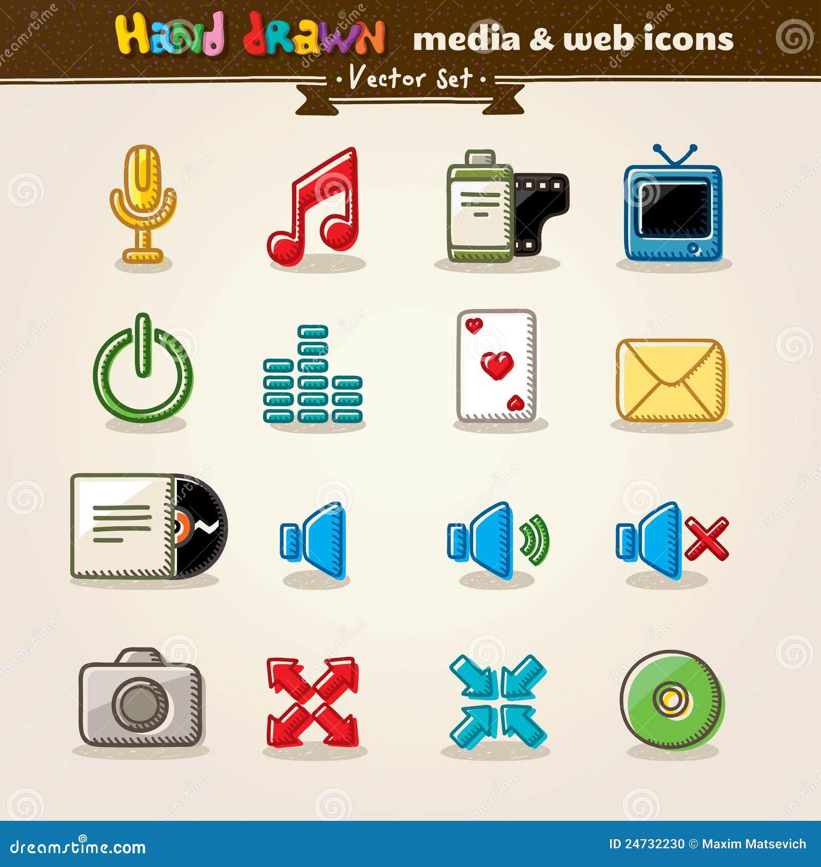 Media ed icone disegnati a mano di Web di intrattenimento