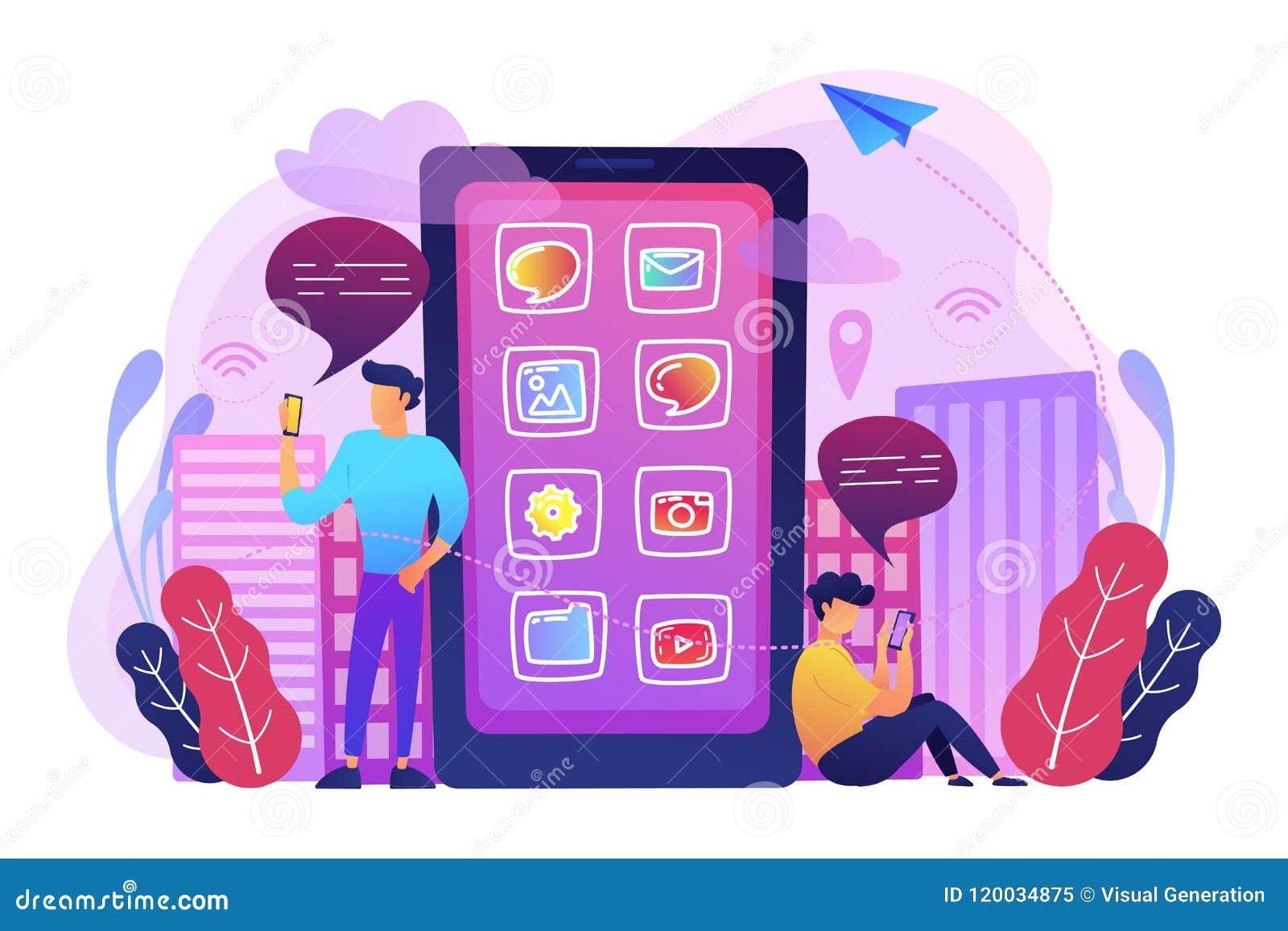 Media et astuces sociaux d actualités, illustration futée de concept de ville