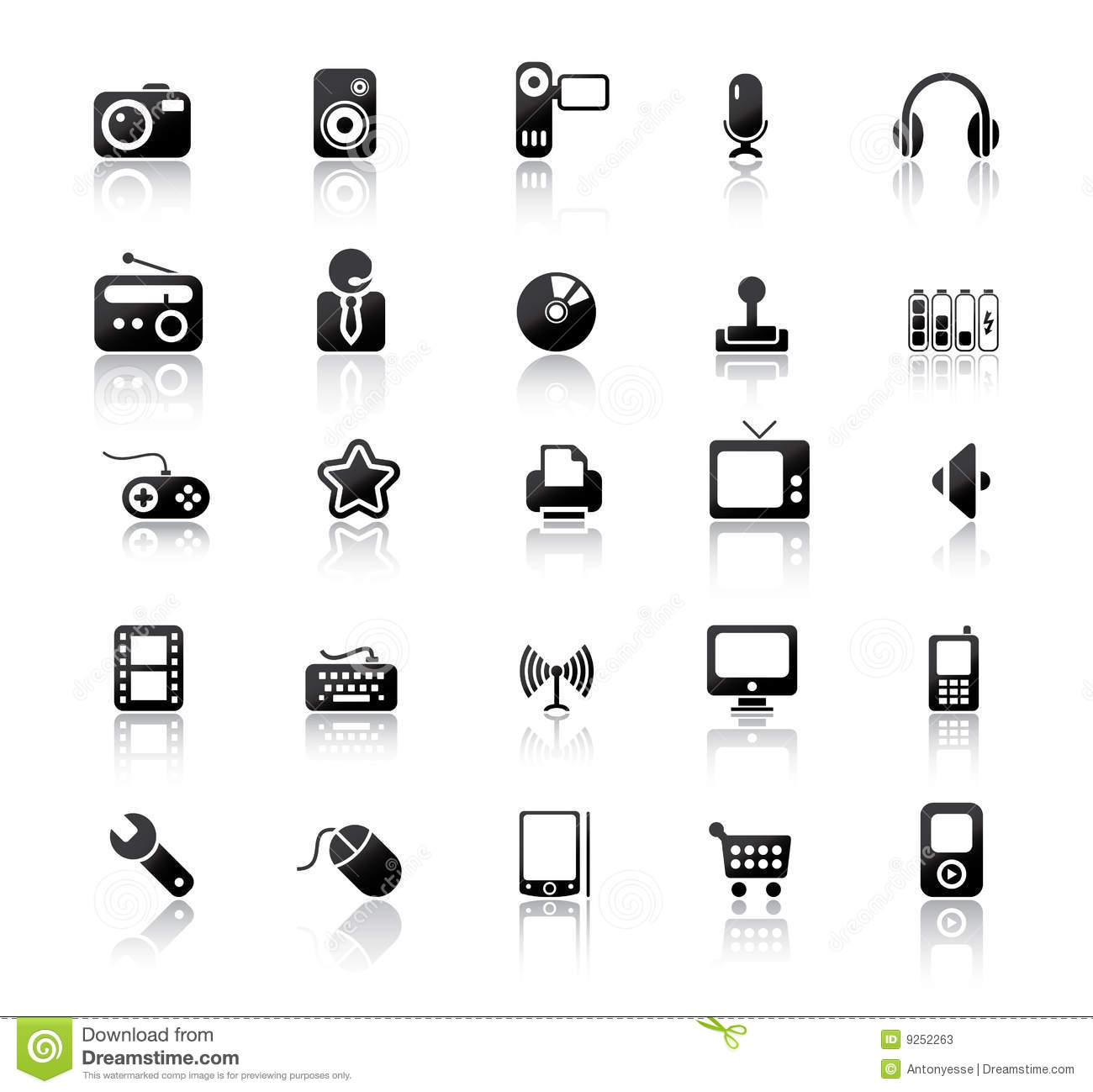 media icons stock vector  image of microphone  camera
