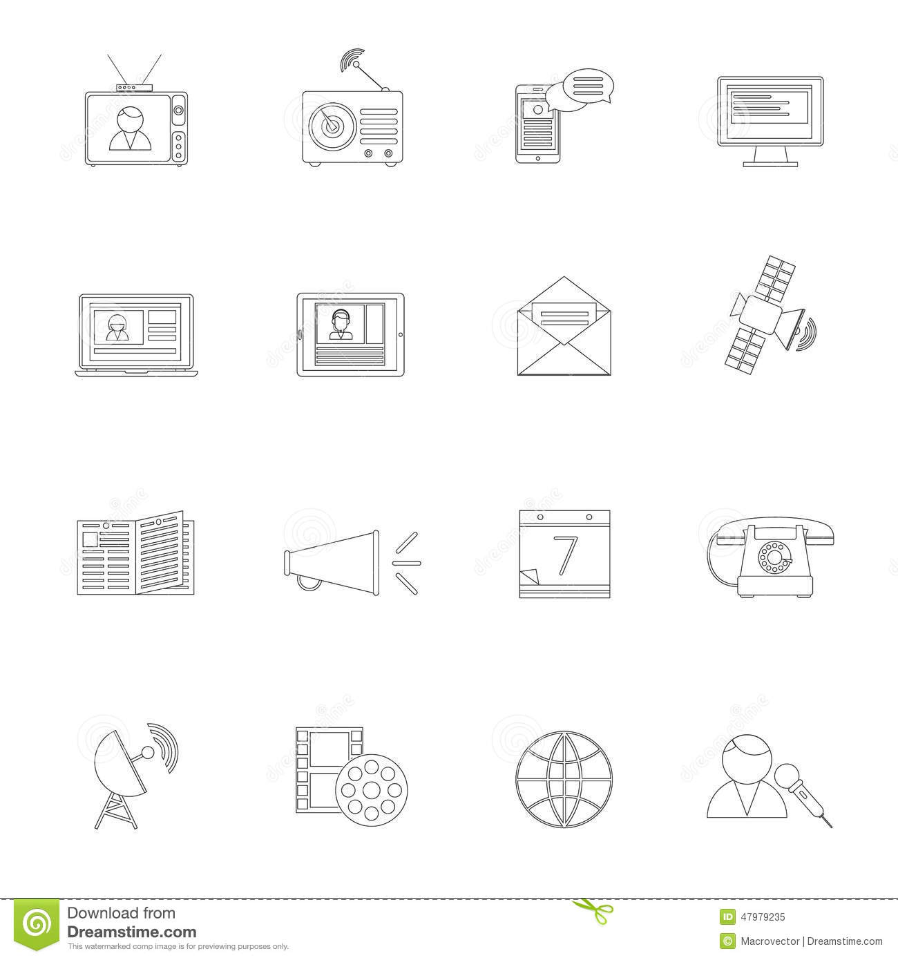 communication icons set outline cartoon vector
