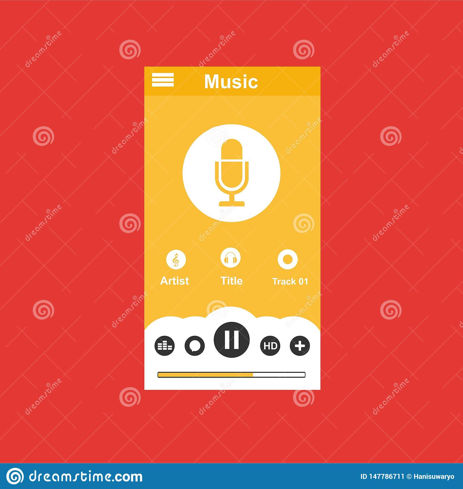 Media player application, app template with flat design style for smartphones, PC or tablets. Clean and modern - Vector