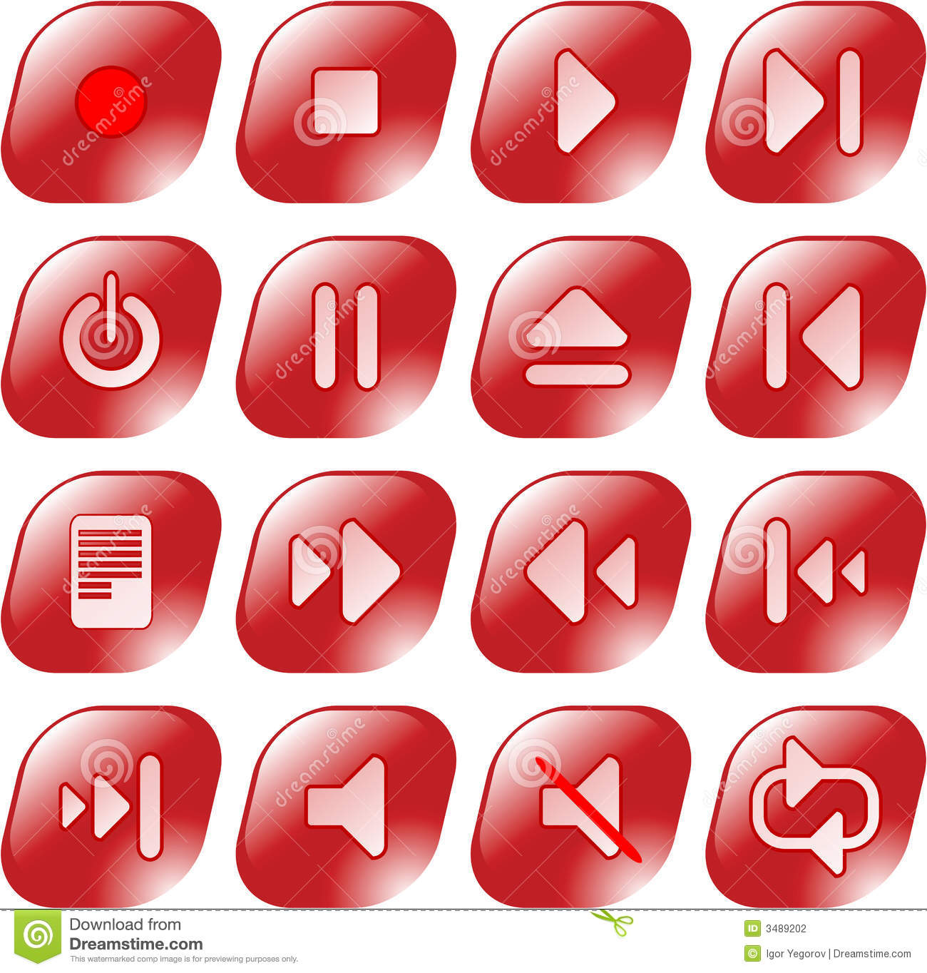 Media player icons stock vector. Illustration of plastic - 3489202
