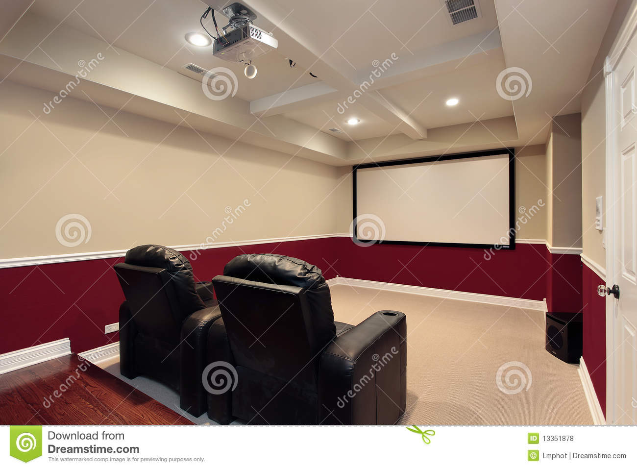 Media room with home theater chairs royalty free stock for Furniture for media room