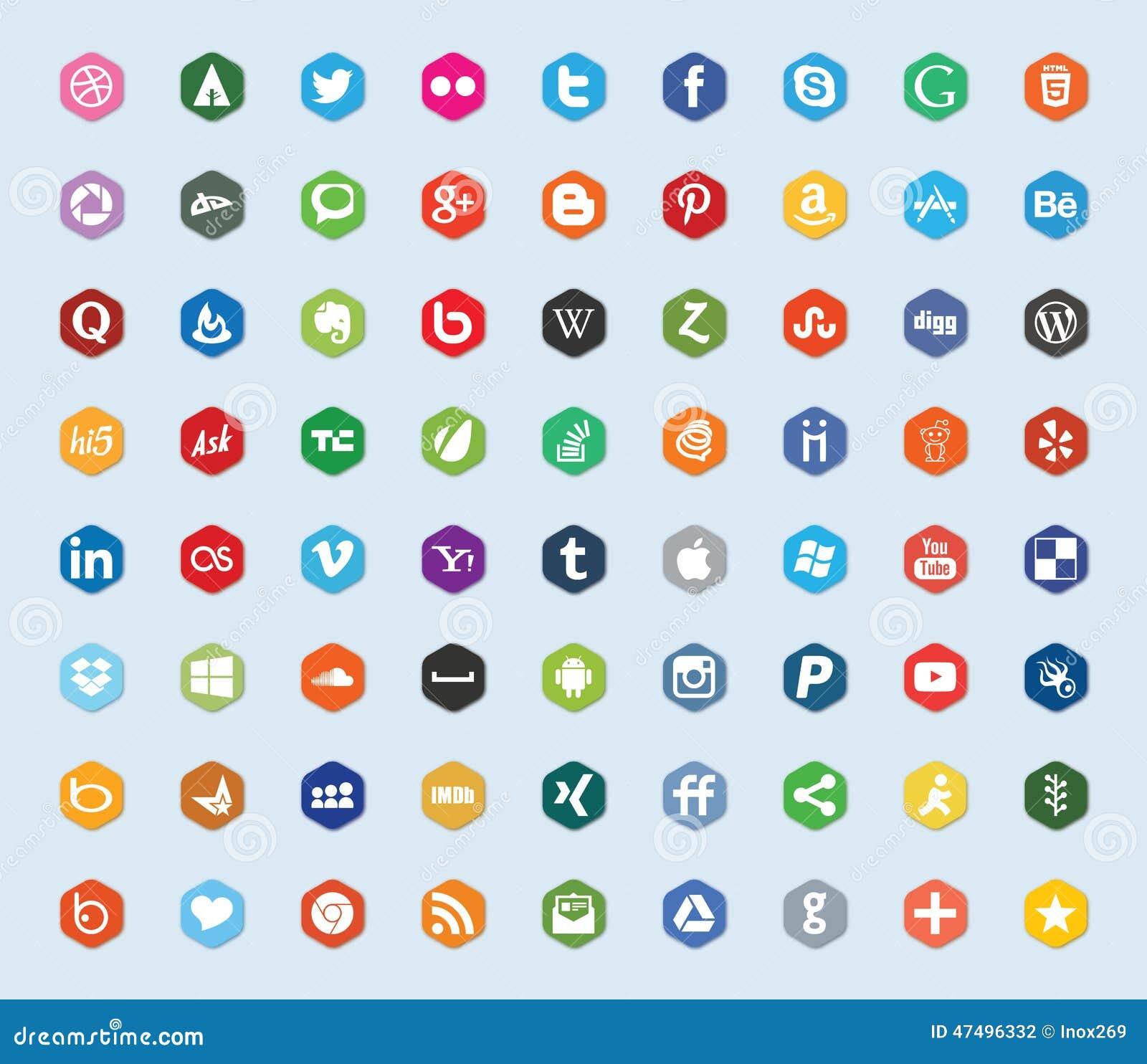 Media social et icônes plates de couleur de réseau
