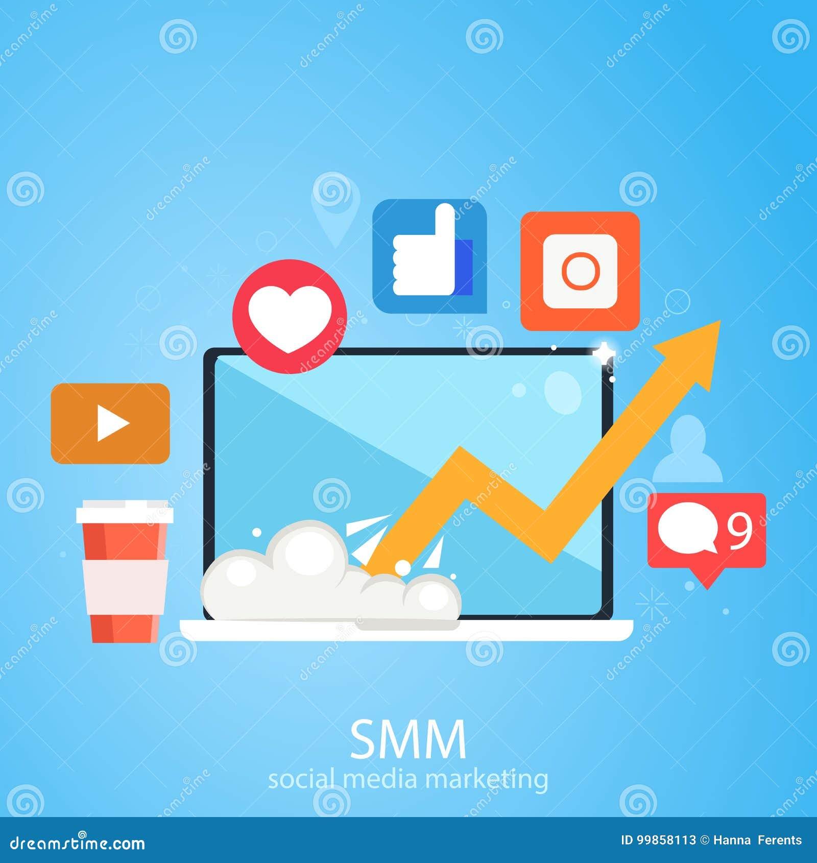 Media social lançant la bannière sur le marché Ordinateur portable avec grandir le programme, icônes avec les réseaux sociaux