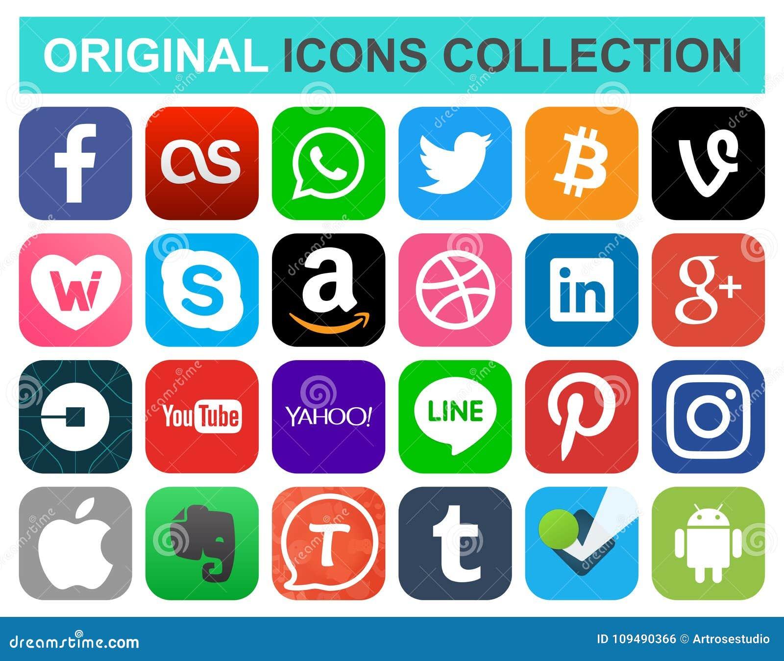 Media social populaire et d autres icônes