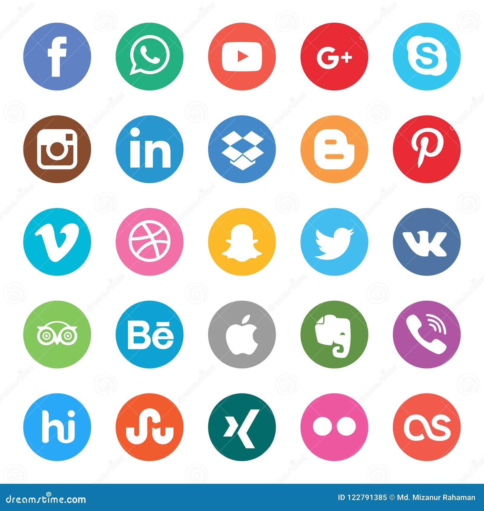 Media sociales fijados Diseño hermoso del icono del círculo de color para el sitio web, plantilla, bandera