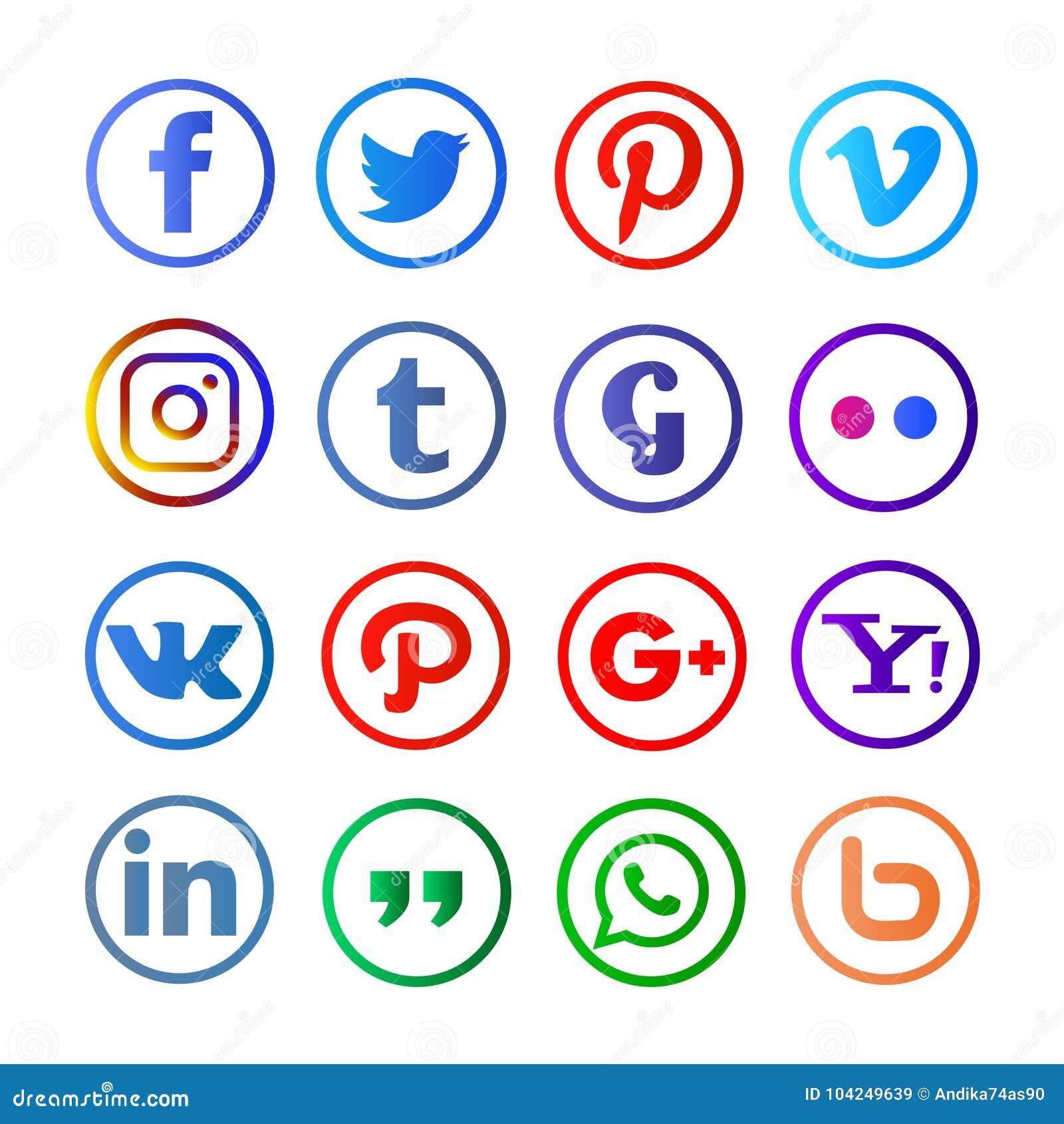 Media sociali arrotondati e colorfull