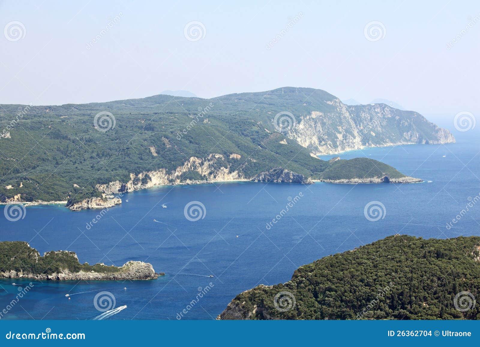 Mediaterranean Landschaft. Korfu-Insel, Griechenland.