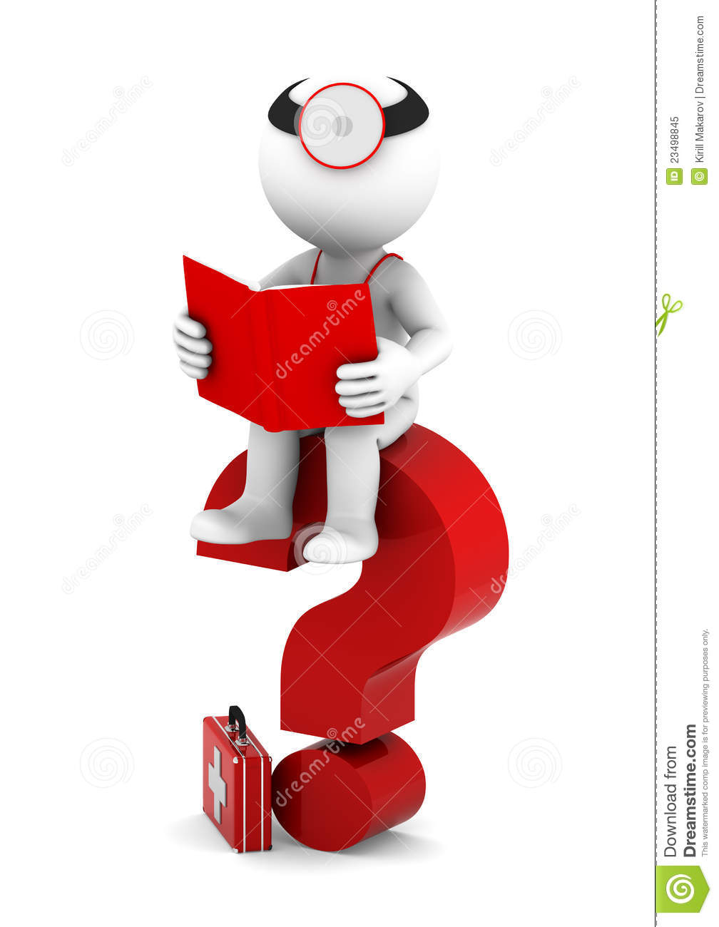 Medic With Book Sittting On Red Question Mark Stock