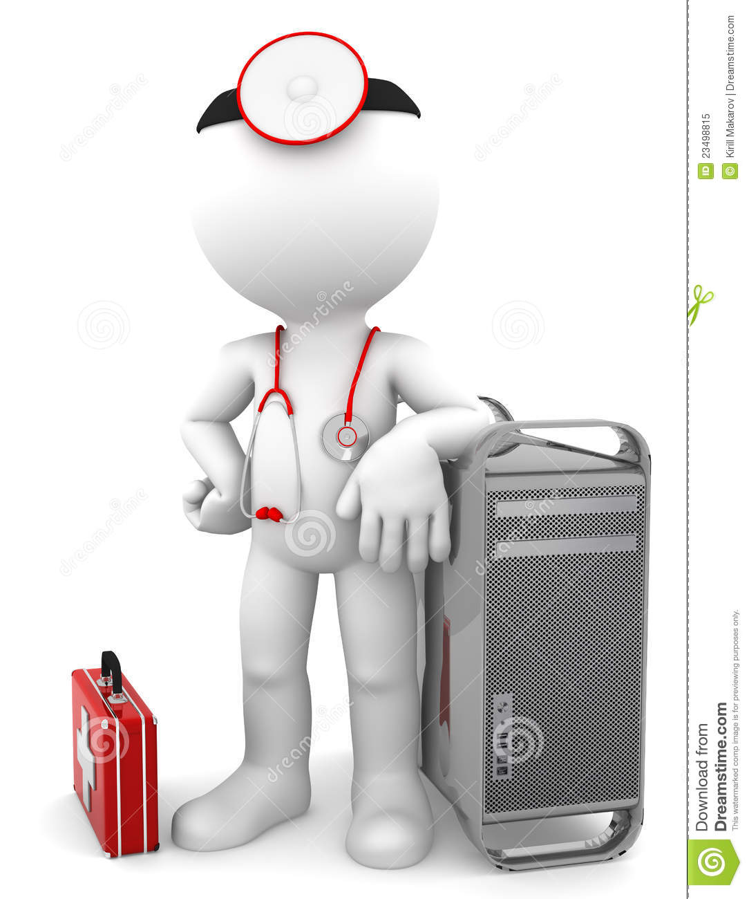 Medic With Computer Tower. Computer Repair Concept Royalty Free ...