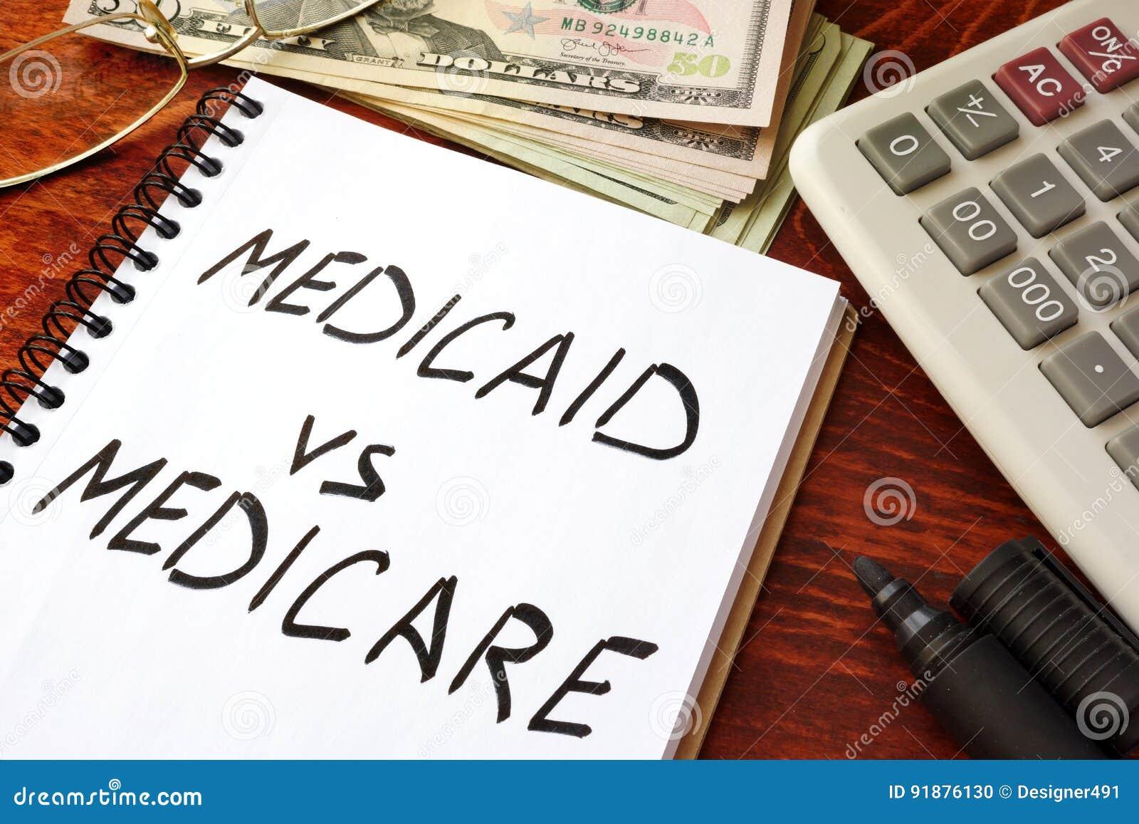 Medicaid gegen Medicare geschrieben in eine Anmerkung