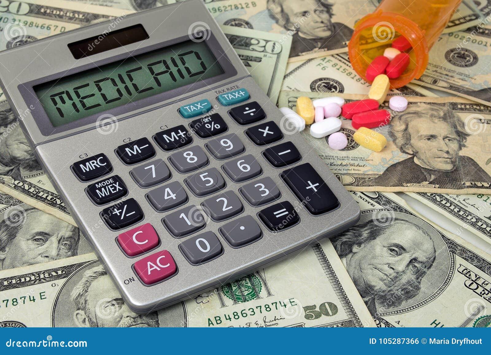 Medicaid-tekstteken op calculator met pillen en geld