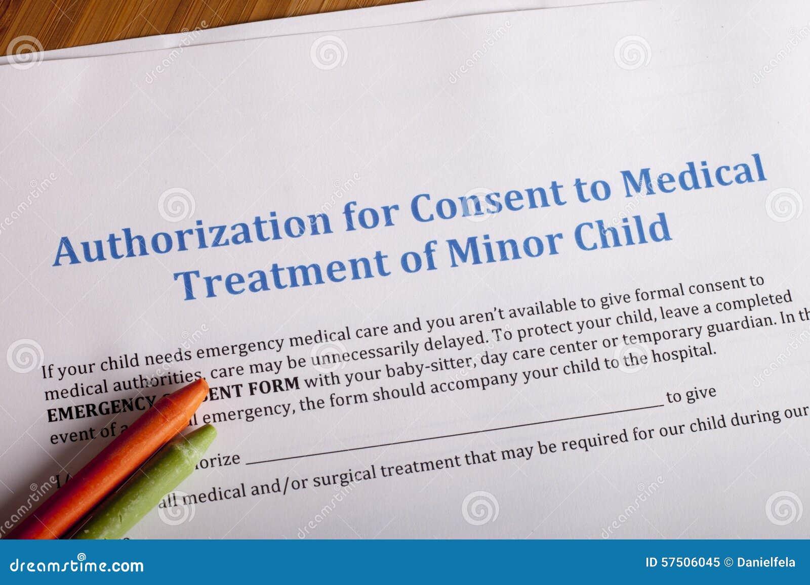 Medical Authorization Of Minor Child Stock Image - Image of ... on