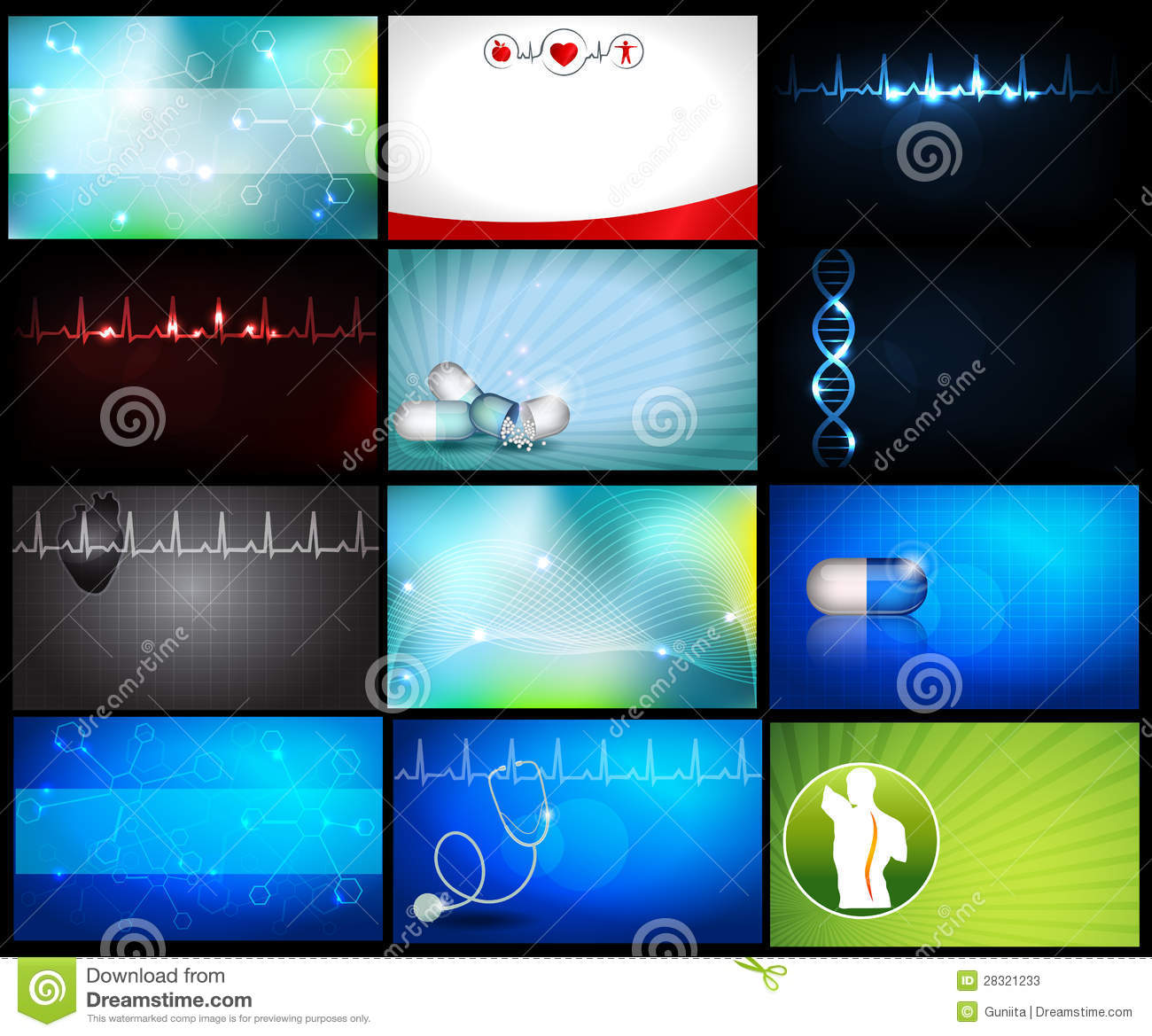 Medical backgrounds or business cards stock vector image 28321233 medical backgrounds or business cards magicingreecefo Images