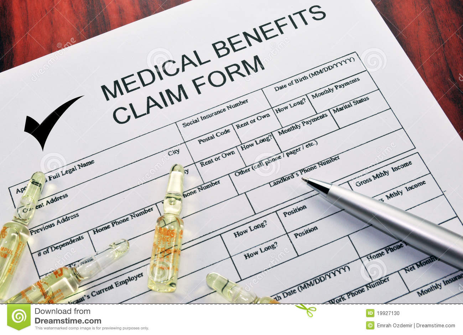 Medical Benefits Claim Form Photo Image 19927130 – Medical Claim Form