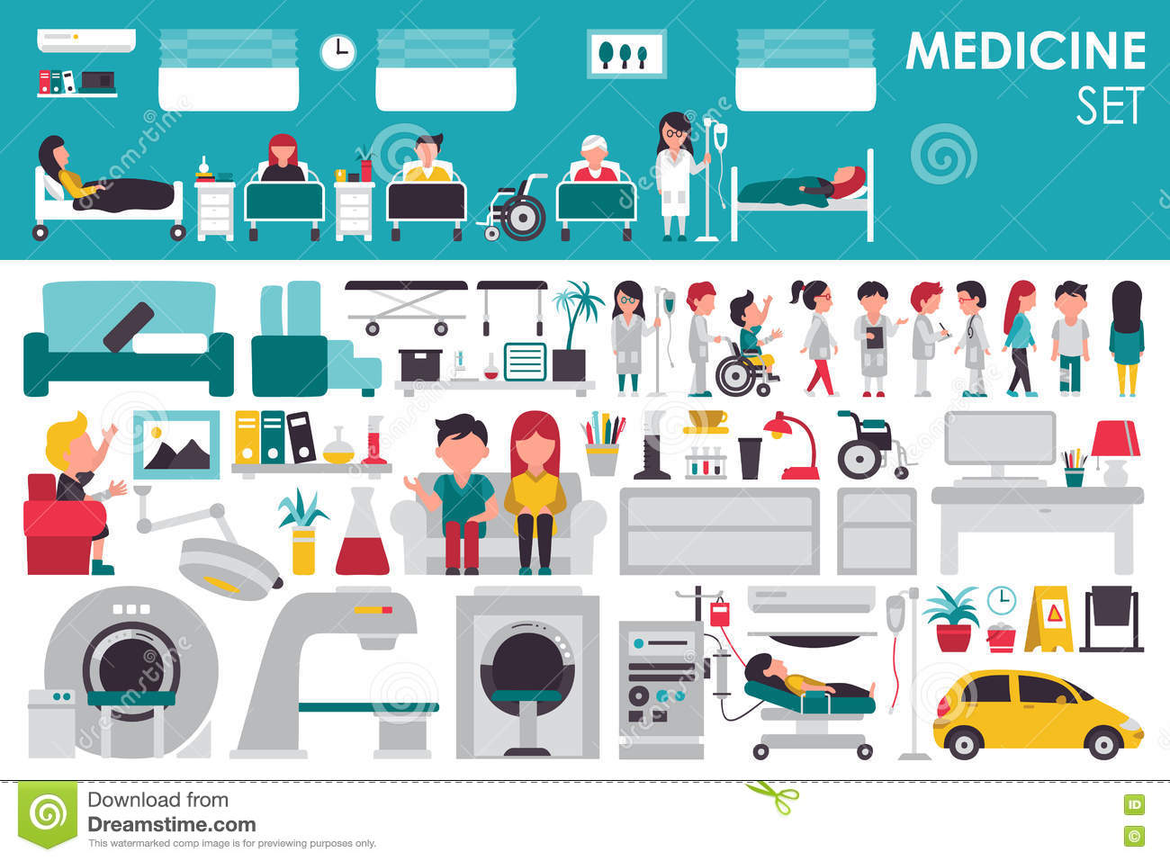 Medical Big Collection in flat design background concept. Infographic elements set with hospital staff doctor and nurse