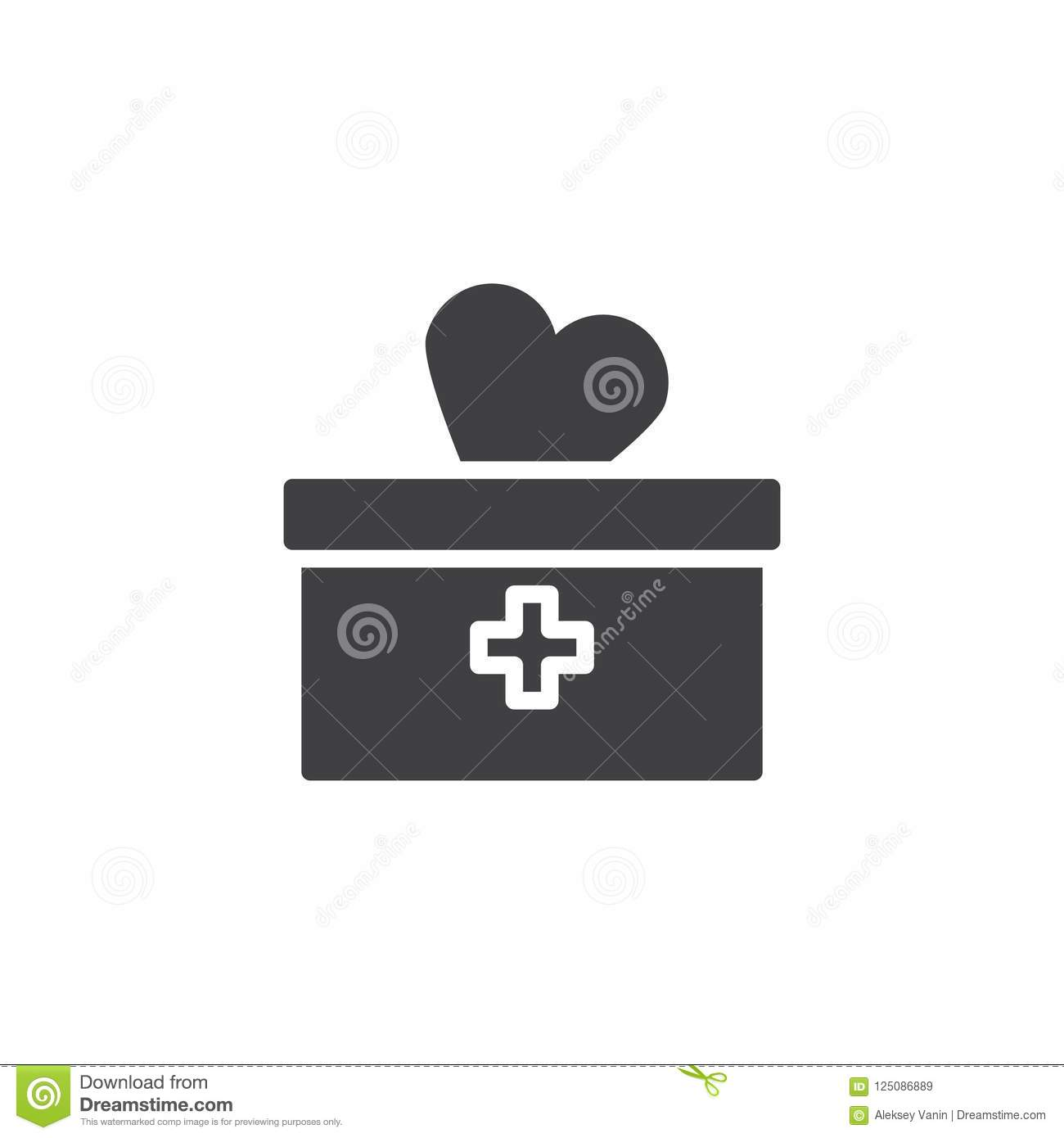 Medical Box And Heart Vector Icon Stock Vector Illustration Of
