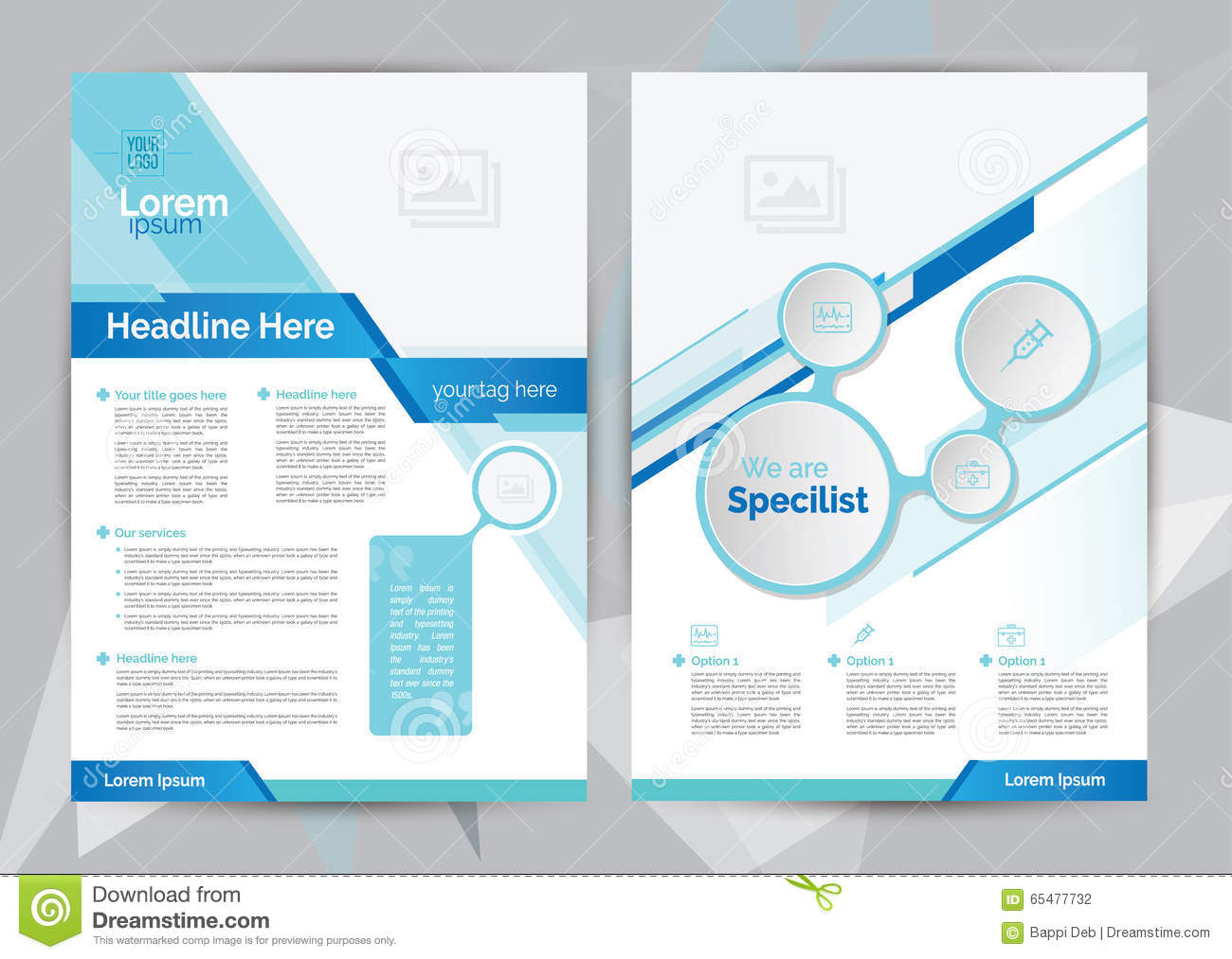 a4 medical brochure design template front back stock vector