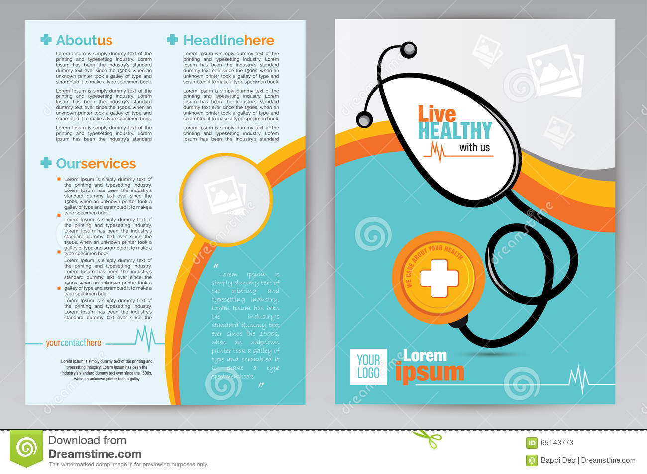 Medical A Brochure Design Template Medical A Both Side - Free medical brochure templates