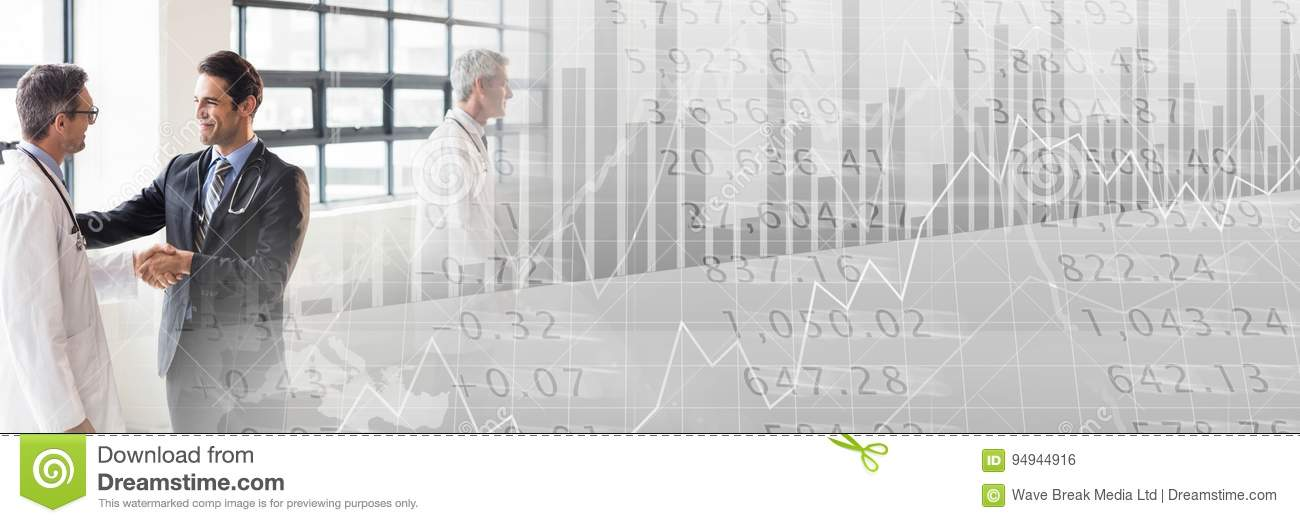 Medical business meeting with grey finance graph transition