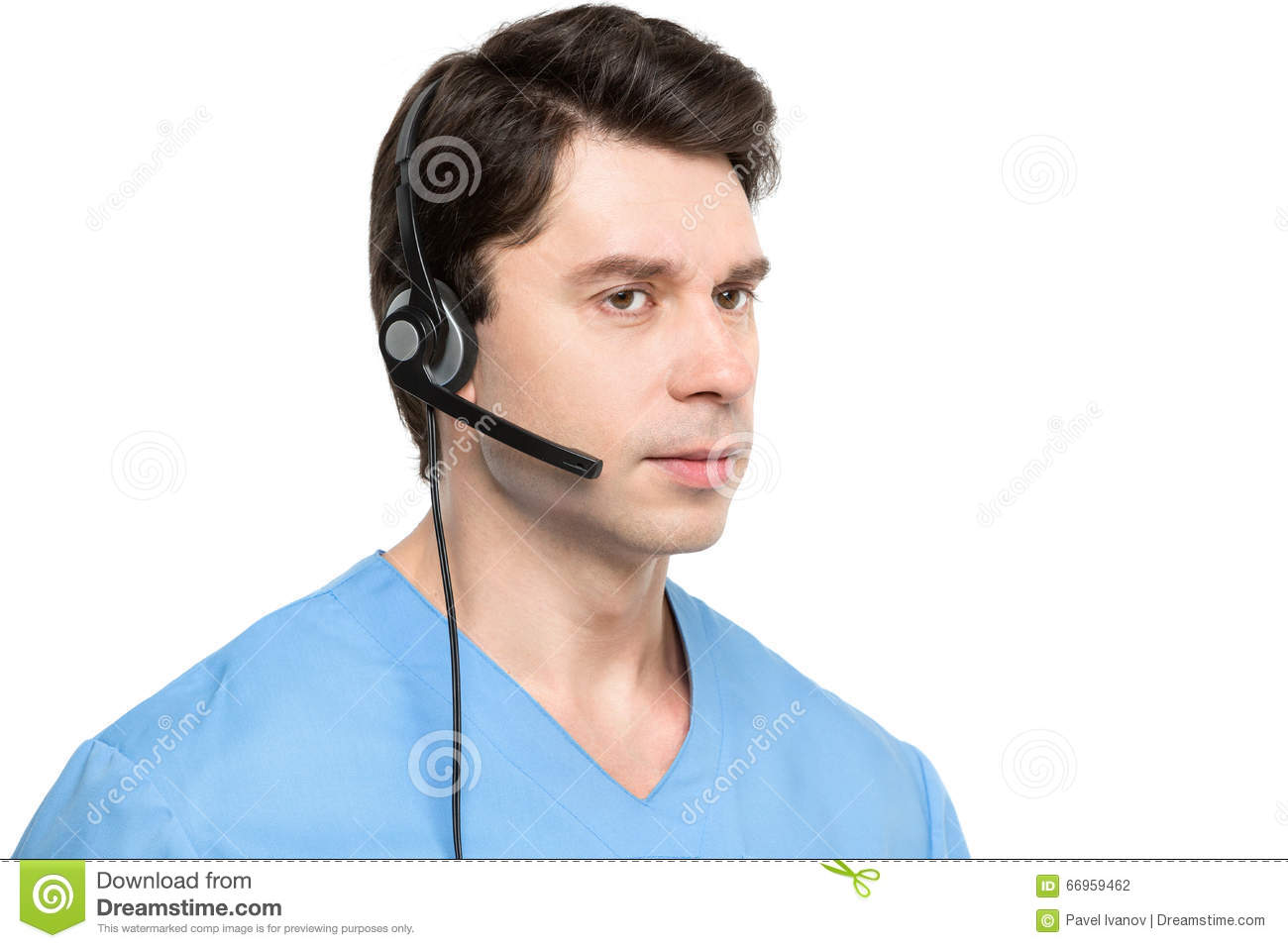 Medical call center operator man isolated.