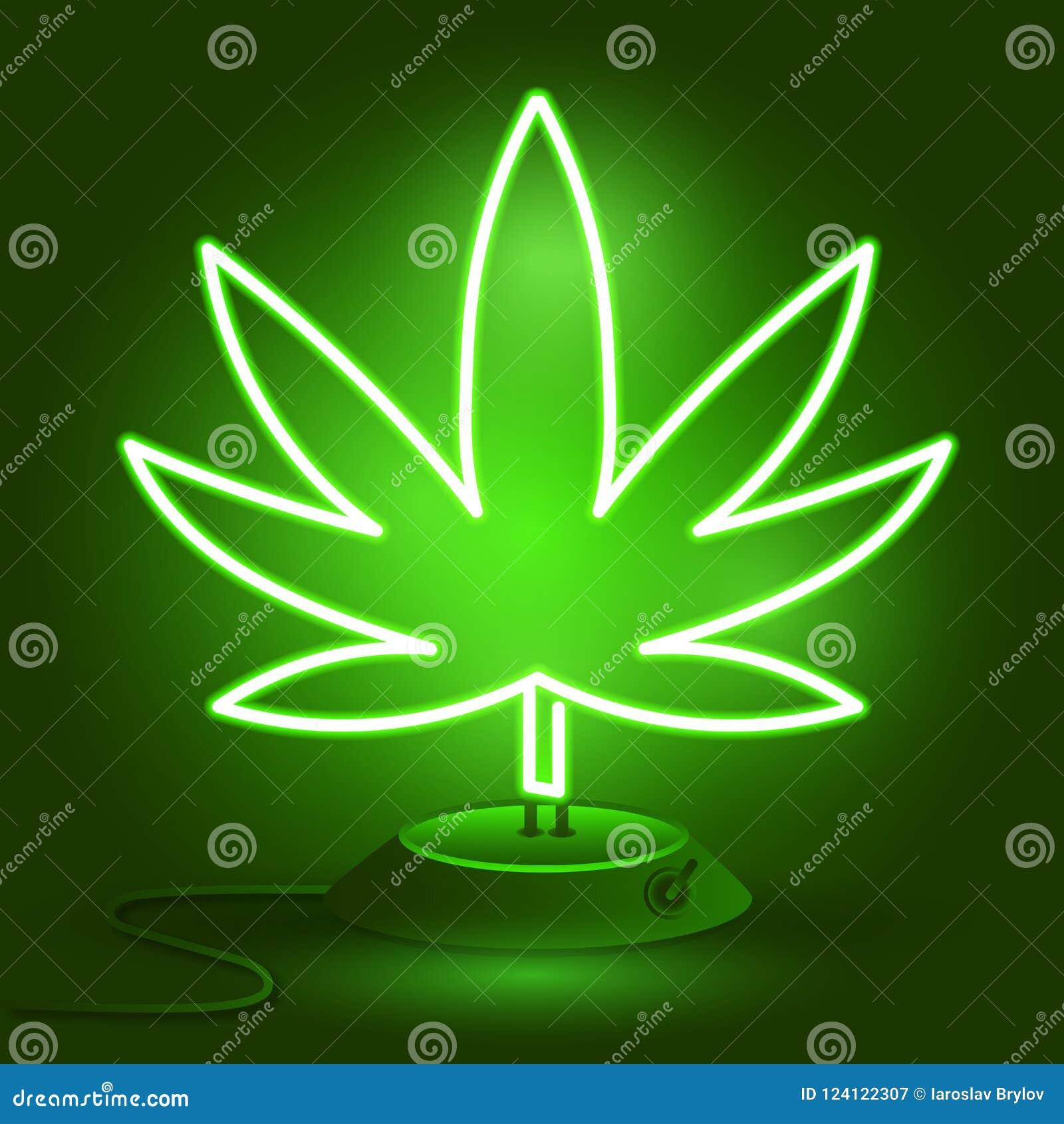 Medical Cannabis Logo With Marijuana Leaf Glowing Neon Light Style