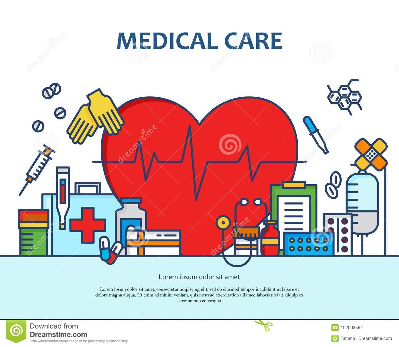 Medical care concept in modern flat line style in heart shape. Diagnosis, science and a lot of medicine icons. Banner