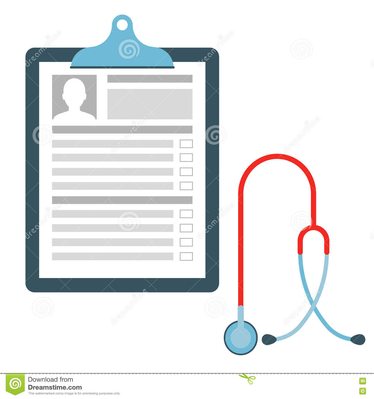 medical chart with stethoscope stock vector illustration of