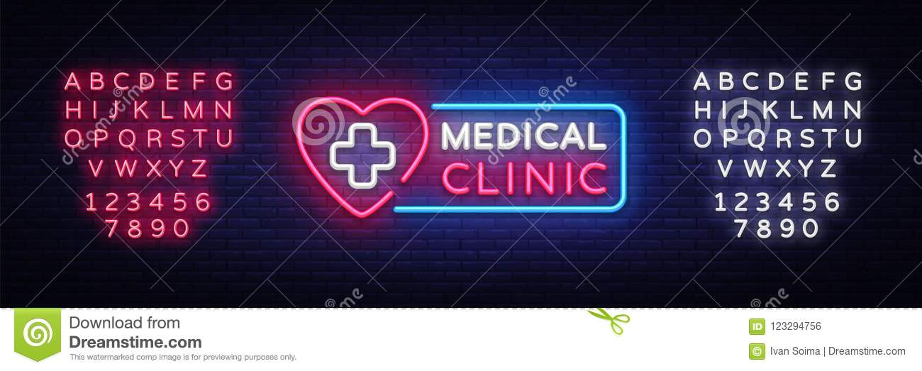 Medical Clinic neon signboard vector. Medical neon glowing symbol, Light Banner, neon icon, design element. Vector