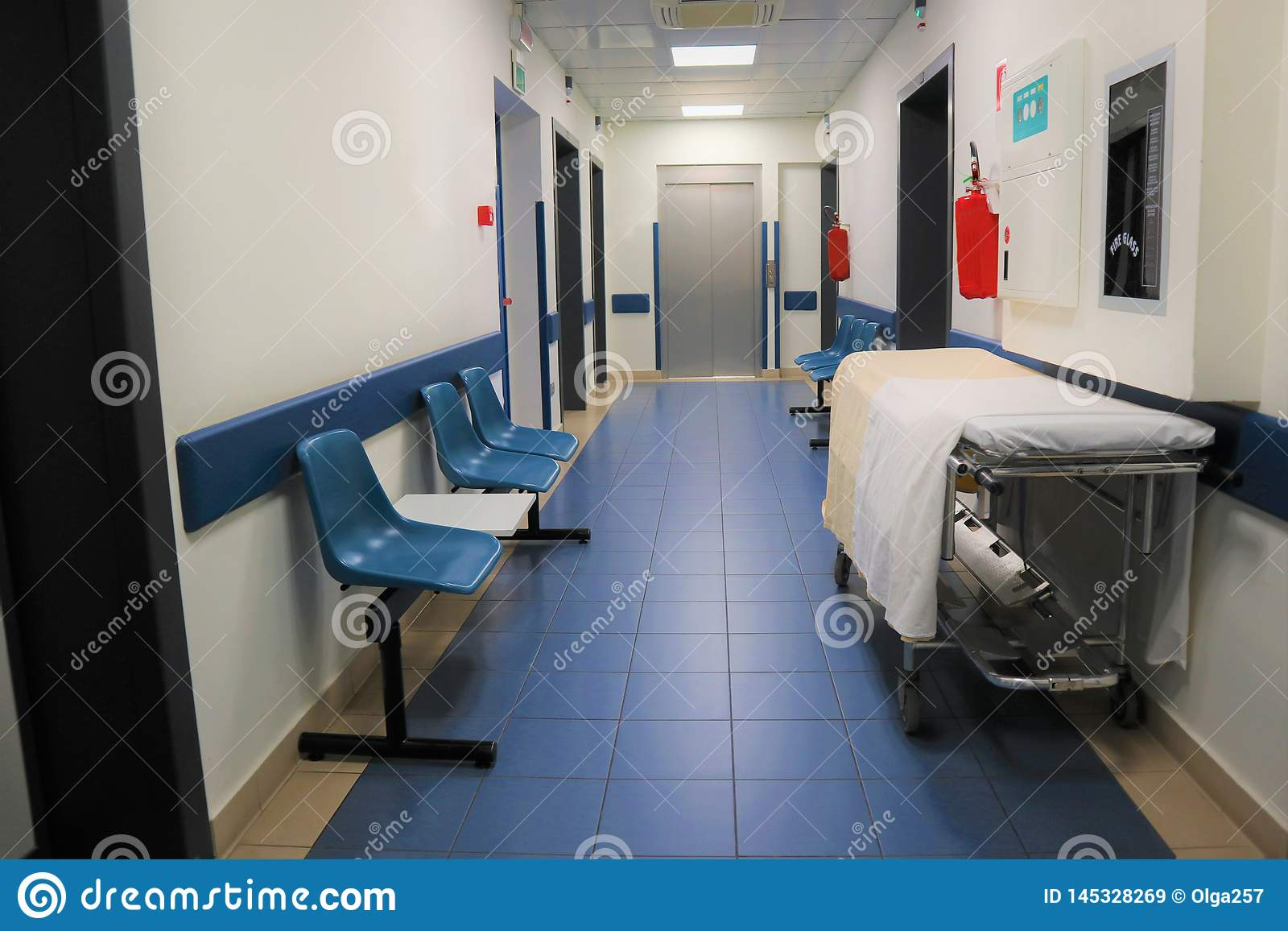 Medical concept. Hospital corridor with rooms