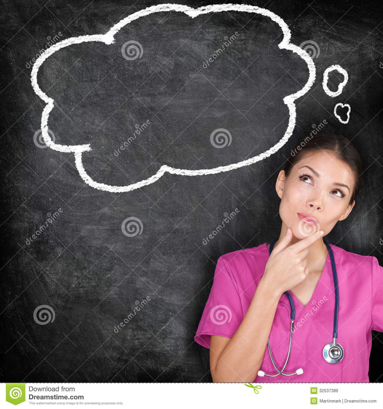 Medical concept - thinking nurse doctor blackboard. Woman doctor ...