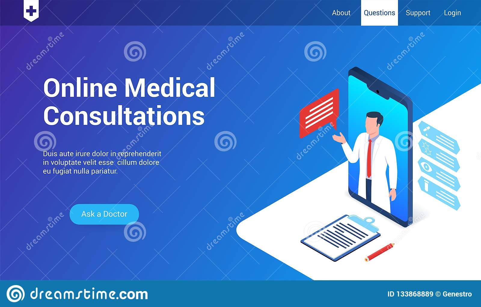 Medical Consultations 3d Template Stock Vector