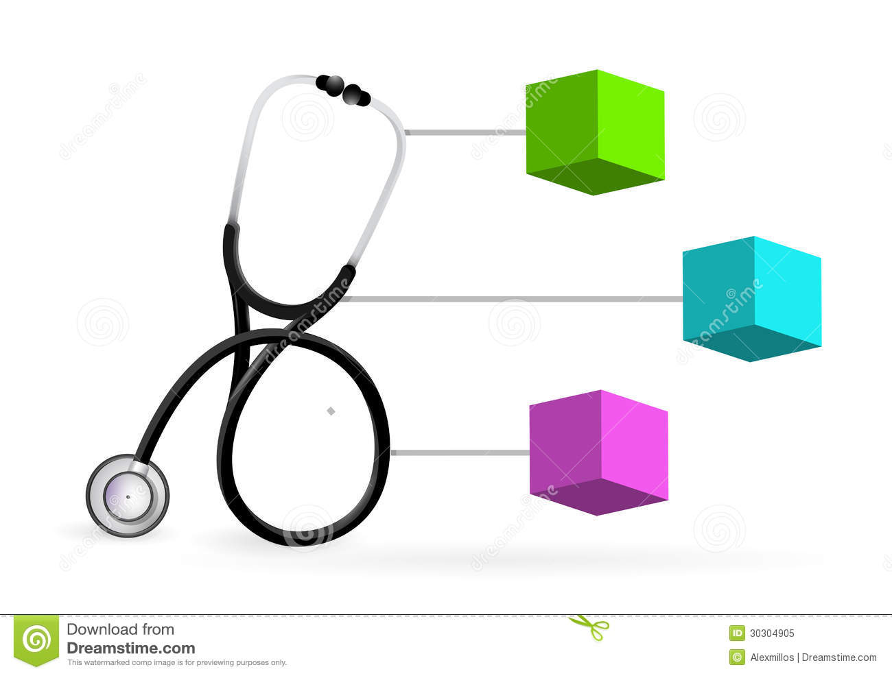 Medical Diagram With A Stethoscope Stock Illustration