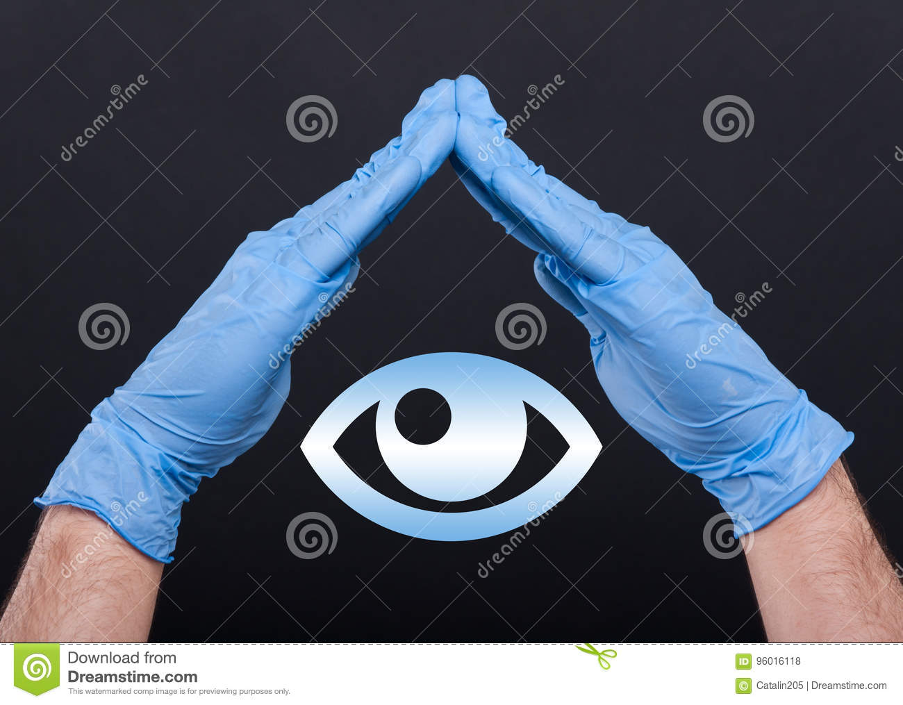 Medical Doctor With Eye Symbol Between Hands Stock Photo Image Of
