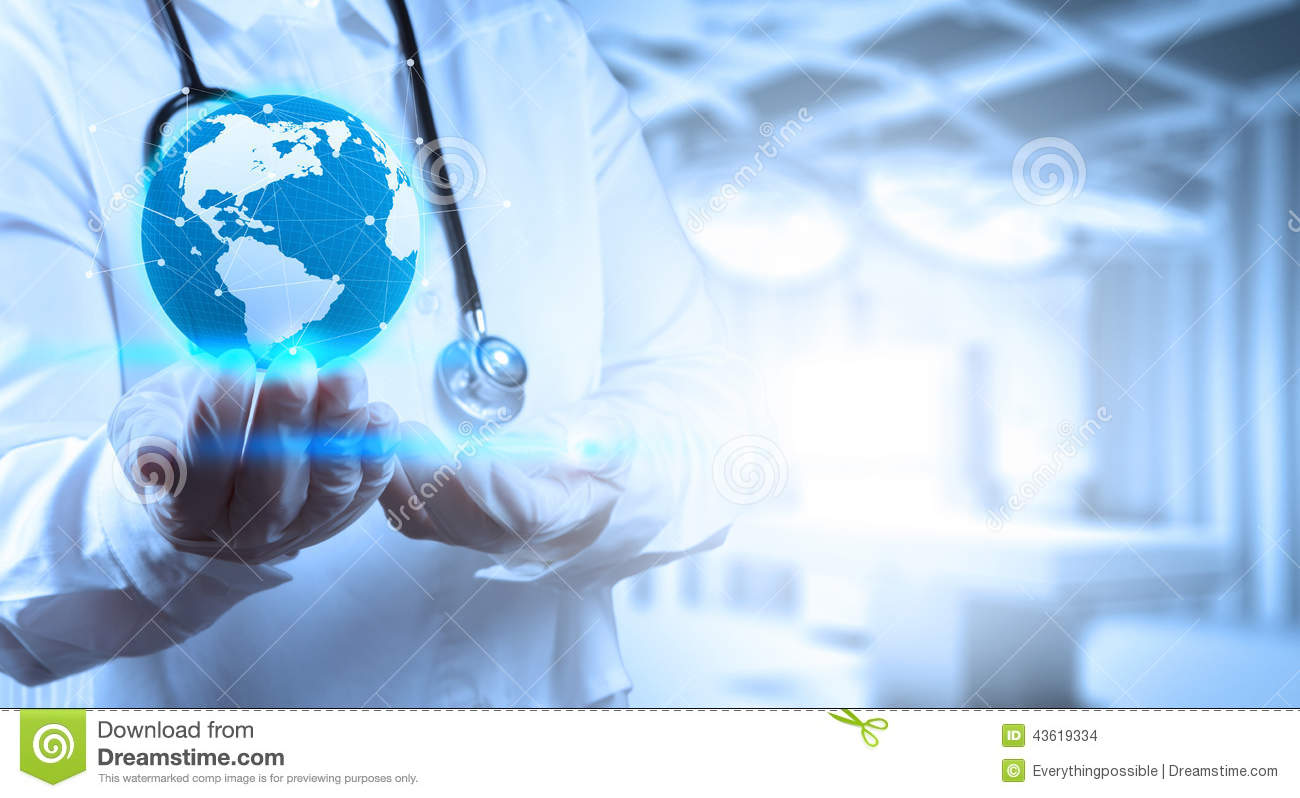Medical Doctor holding a world globe in his hands