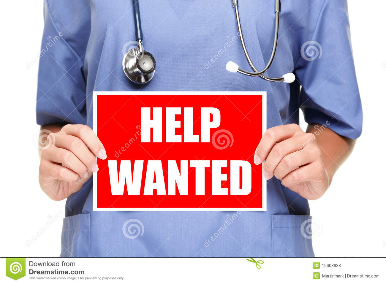 Medical Doctor Nurse Help Wanted Sign Royalty Free Stock