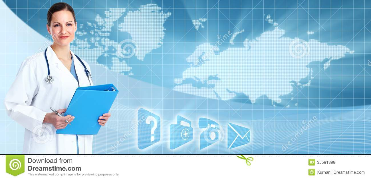 Medical Doctor Over Healthcare Banner  Stock Photo - Image