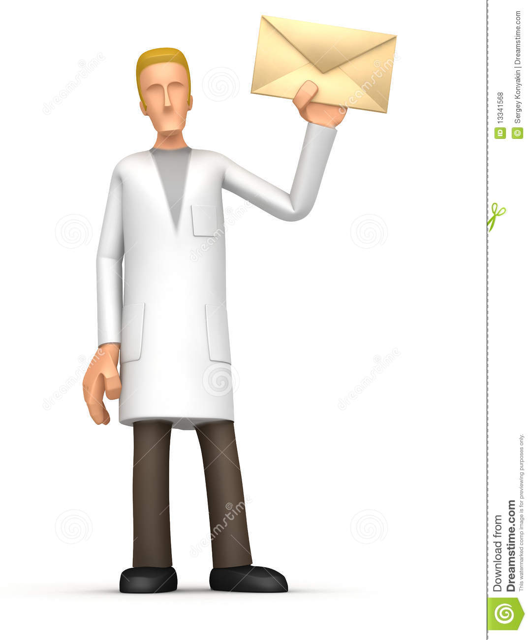 medical doctor standing with a letter royalty free stock