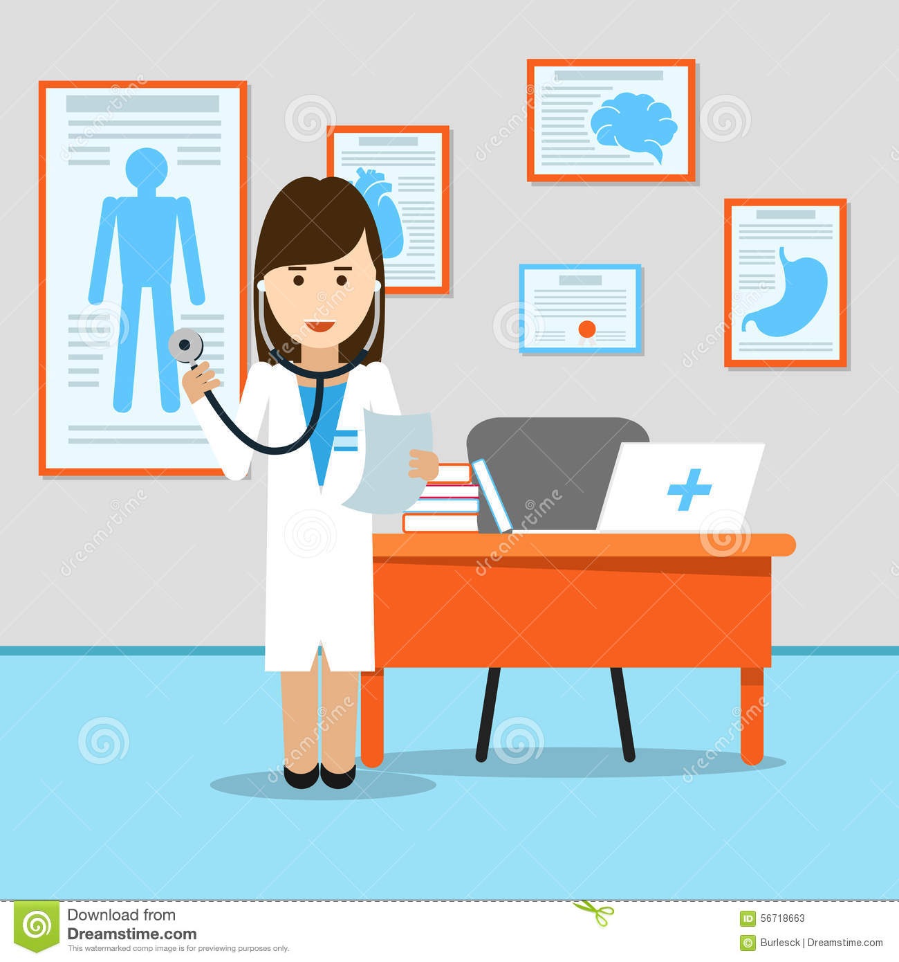 Medical doctor at the table. Medicine and hospital, stethoscope and