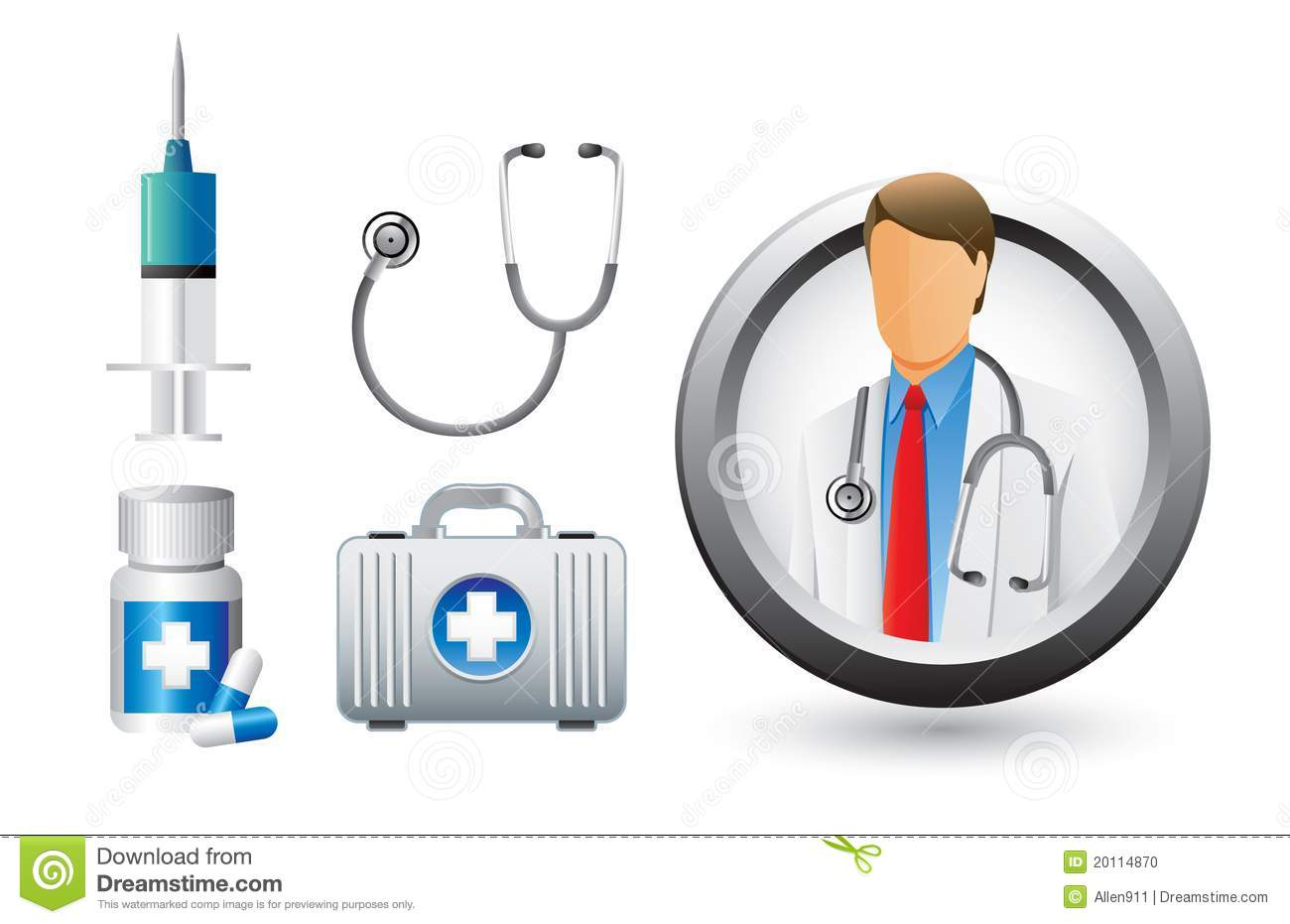 ... medical doctor, stethoscope, needle, medicine, and medical bag icons
