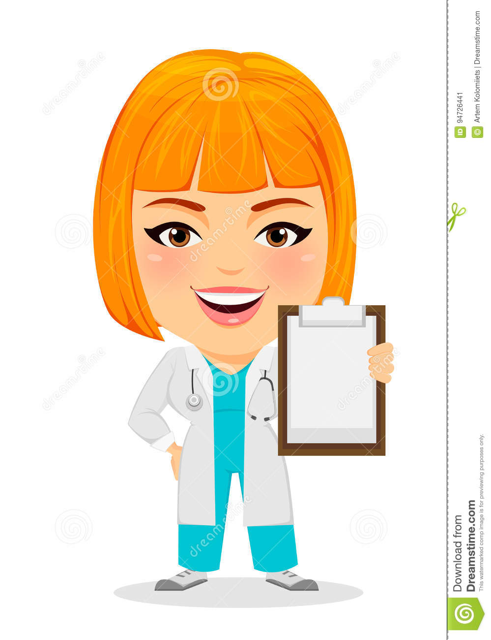 Cartoon Characters With Big Heads : Woman holding clipboard stock illustrations