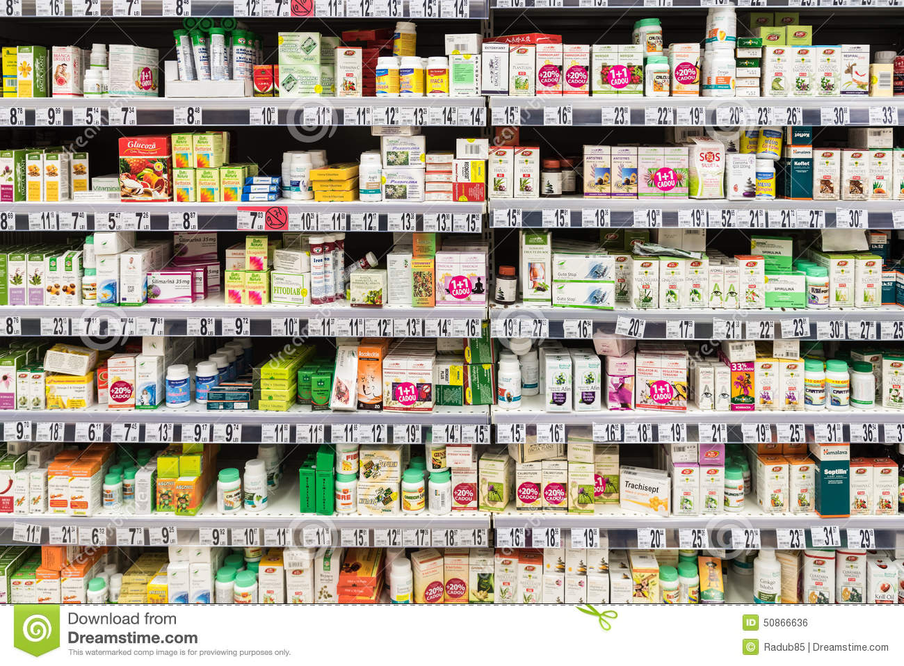 Medical Drug Pills And Supplements On Pharmacy Stand