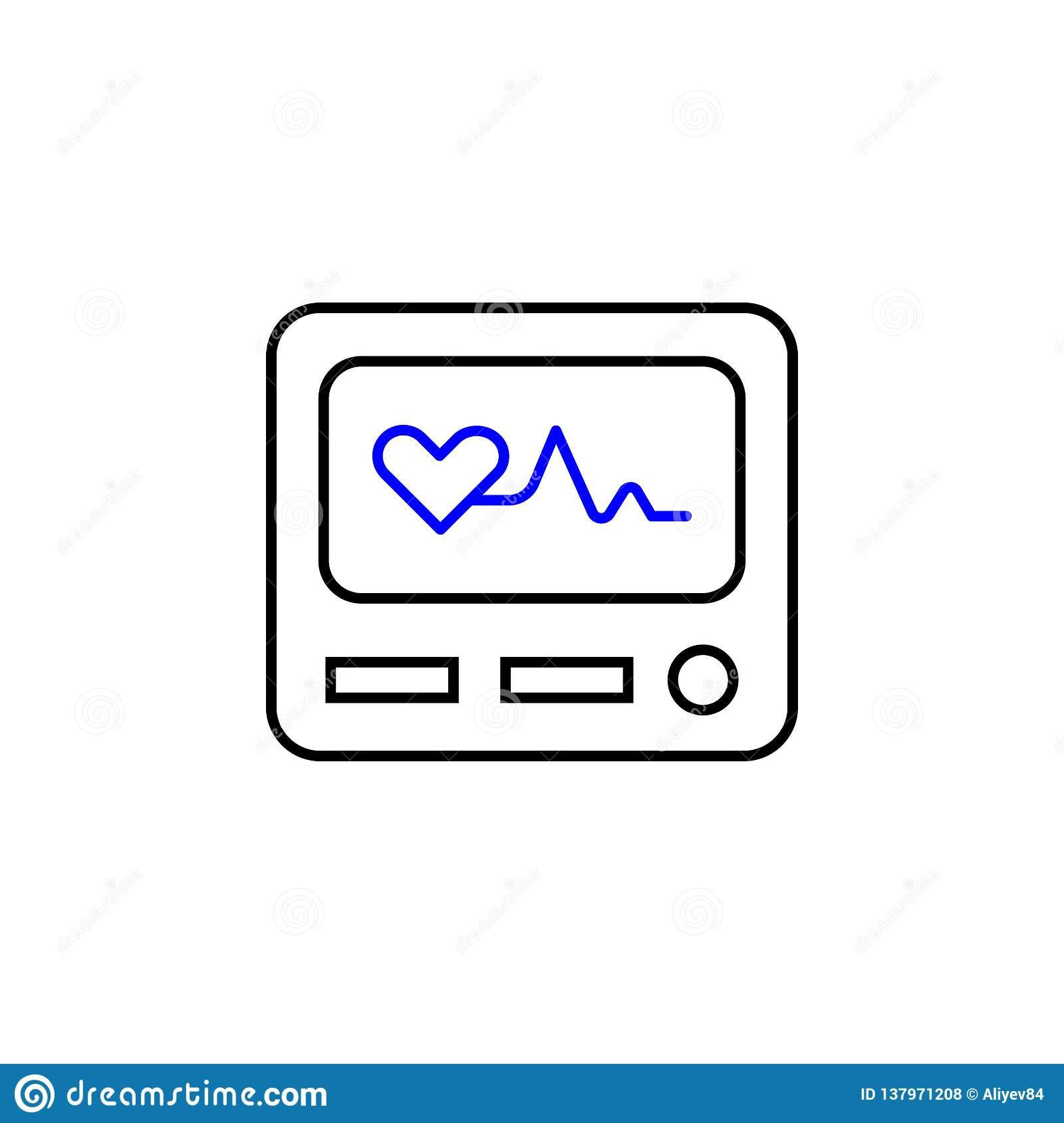 Medical electrocardiography icon. Element of Medical icon for mobile concept and web apps. Detailed Medical electrocardiography