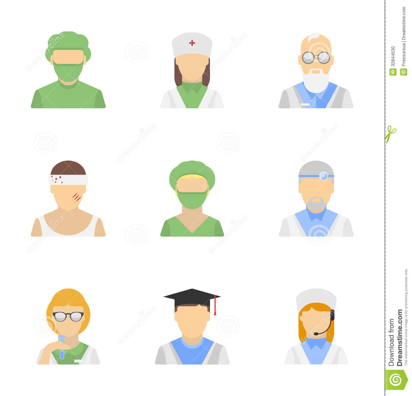 Vector icons set of medical employees characters in modern flat design ...