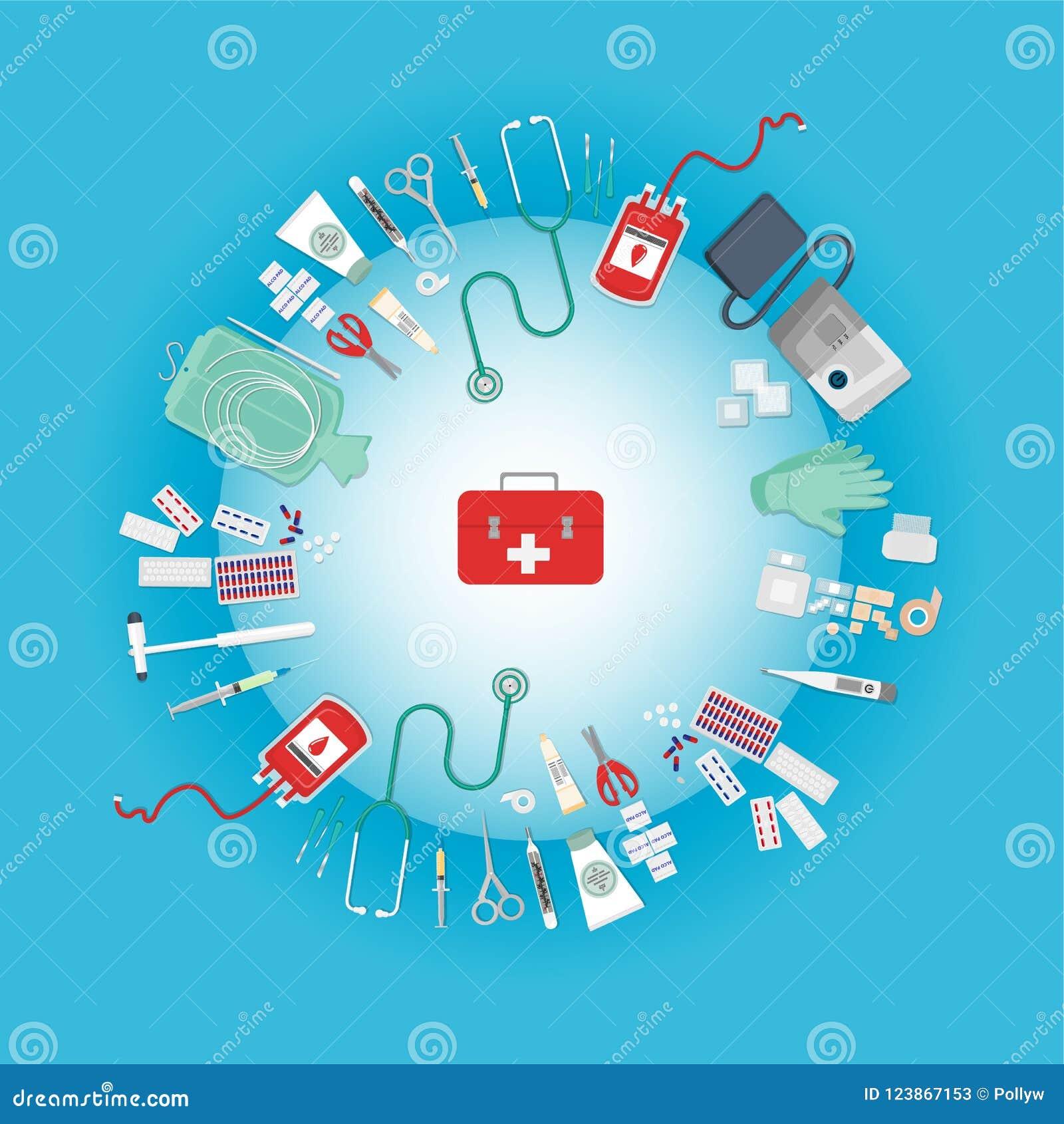 Medical Equipment Flat Web And Print Illustration Stock ...